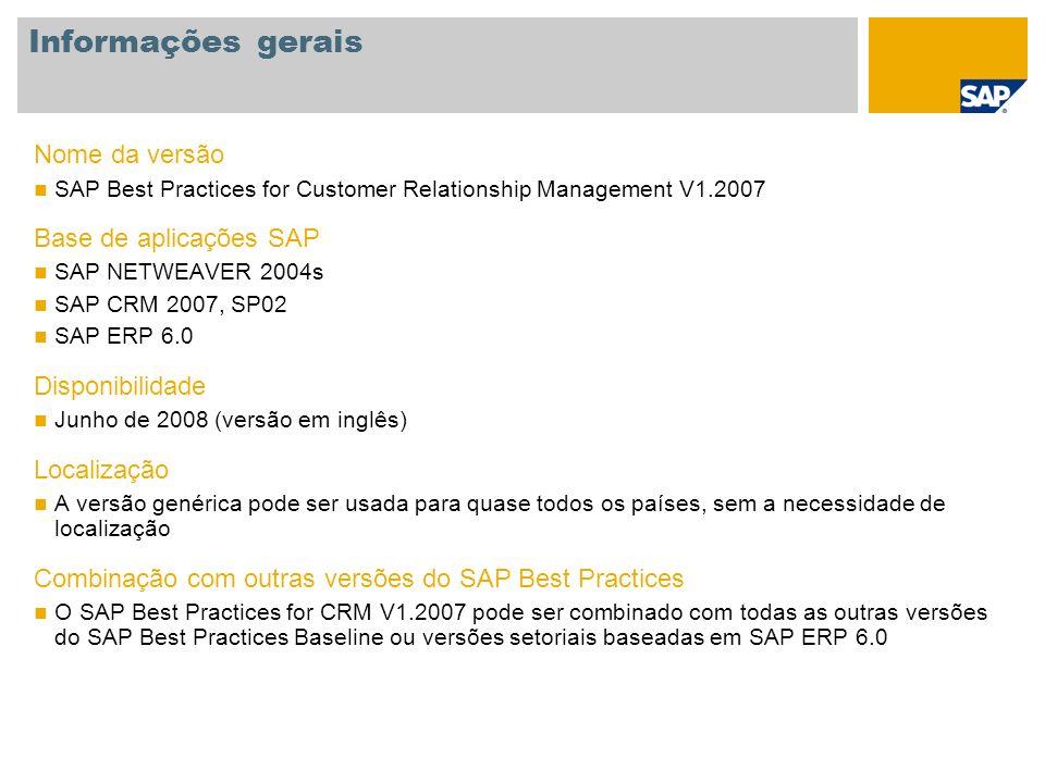 Informações gerais Nome da versão SAP Best Practices for Customer Relationship Management V1.2007 Base de aplicações SAP SAP NETWEAVER 2004s SAP CRM 2