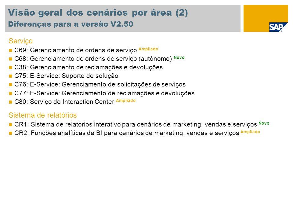 Visão geral dos cenários por área (2) Diferenças para a versão V2.50 Serviço C69: Gerenciamento de ordens de serviço Ampliado C68: Gerenciamento de or