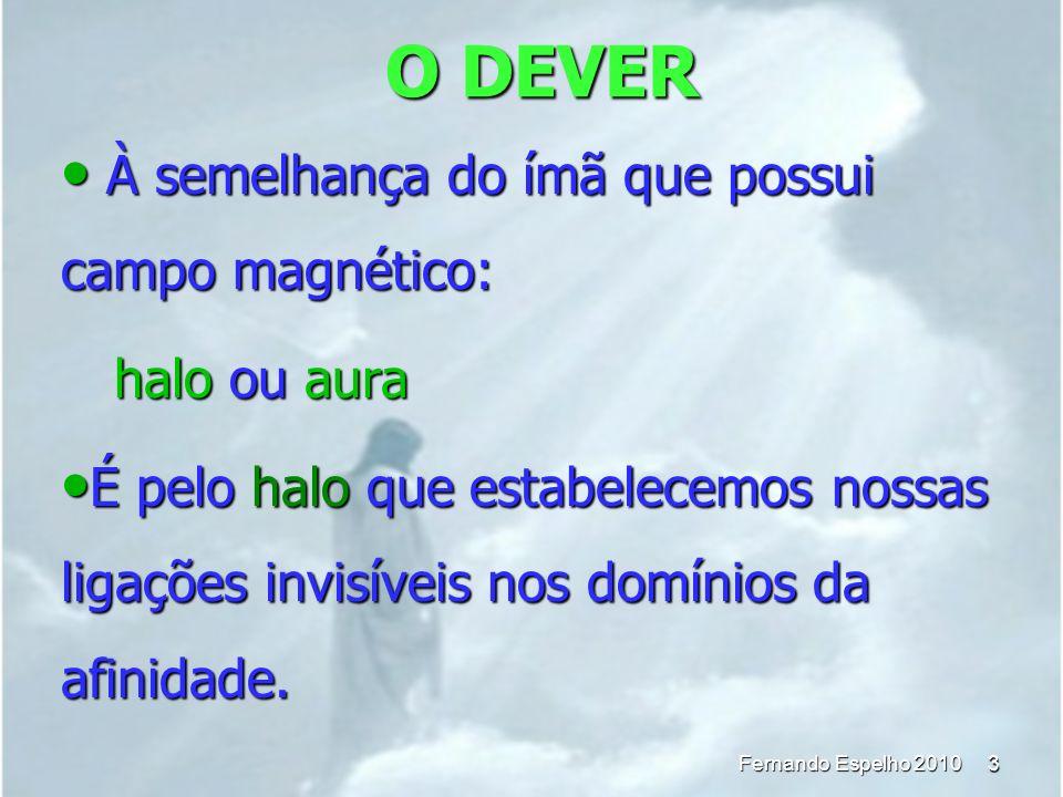 O DEVER 3 Fernando Espelho 2010 À semelhança do ímã que possui campo magnético: À semelhança do ímã que possui campo magnético: halo ou aura É pelo ha