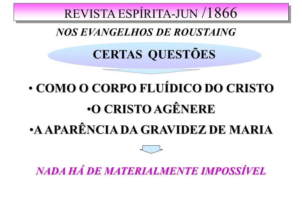 REVISTA ESPÍRITA-JUN /1866 NOS EVANGELHOS DE ROUSTAING CERTAS QUESTÕES COMO O CORPO FLUÍDICO DO CRISTO COMO O CORPO FLUÍDICO DO CRISTO O CRISTO AGÊNEREO CRISTO AGÊNERE A APARÊNCIA DA GRAVIDEZ DE MARIAA APARÊNCIA DA GRAVIDEZ DE MARIA NADA HÁ DE MATERIALMENTE IMPOSSÍVEL