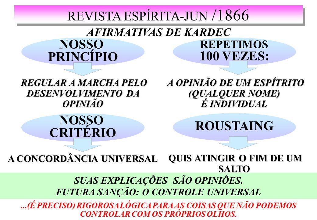 REVISTA ESPÍRITA-JUN /1866 AFIRMATIVAS DE KARDEC NOSSO PRINCÍPIO REGULAR A MARCHA PELO DESENVOLVIMENTO DA OPINIÃO REGULAR A MARCHA PELO DESENVOLVIMENTO DA OPINIÃO...(É PRECISO) RIGOROSA LÓGICA PARA AS COISAS QUE NÃO PODEMOS CONTROLAR COM OS PRÓPRIOS OLHOS.