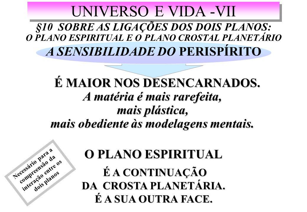 UNIVERSO E VIDA -VII §10 SOBRE AS LIGAÇÕES DOS DOIS PLANOS: O PLANO ESPIRITUAL E O PLANO CROSTAL PLANETÁRIO A SENSIBILIDADE DO PERISPÍRITO É MAIOR NOS DESENCARNADOS.
