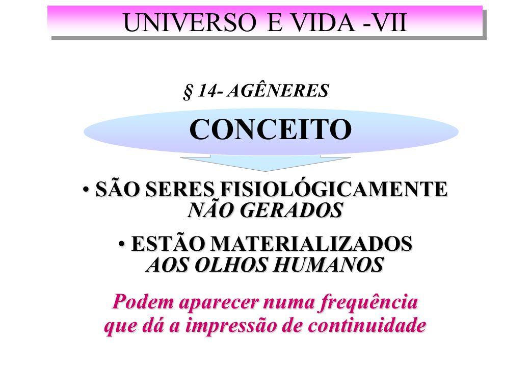 UNIVERSO E VIDA -VII § 14- AGÊNERES CONCEITO SÃO SERES FISIOLÓGICAMENTE NÃO GERADOS SÃO SERES FISIOLÓGICAMENTE NÃO GERADOS ESTÃO MATERIALIZADOS AOS OLHOS HUMANOS ESTÃO MATERIALIZADOS AOS OLHOS HUMANOS Podem aparecer numa frequência que dá a impressão de continuidade