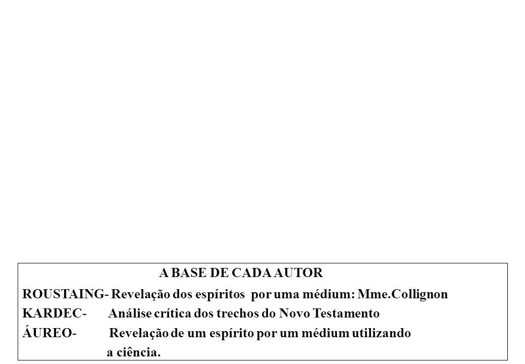 A BASE DE CADA AUTOR ROUSTAING- Revelação dos espíritos por uma médium: Mme.Collignon KARDEC- Análise crítica dos trechos do Novo Testamento ÁUREO- Revelação de um espírito por um médium utilizando a ciência.