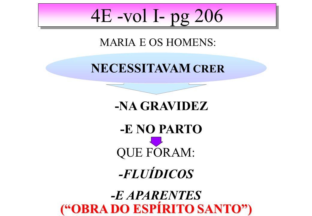 4E -vol I- pg 206 MARIA E OS HOMENS: NECESSITAVAM CRER -NA GRAVIDEZ -E NO PARTO QUE FORAM: -FLUÍDICOS -E APARENTES (OBRA DO ESPÍRITO SANTO)