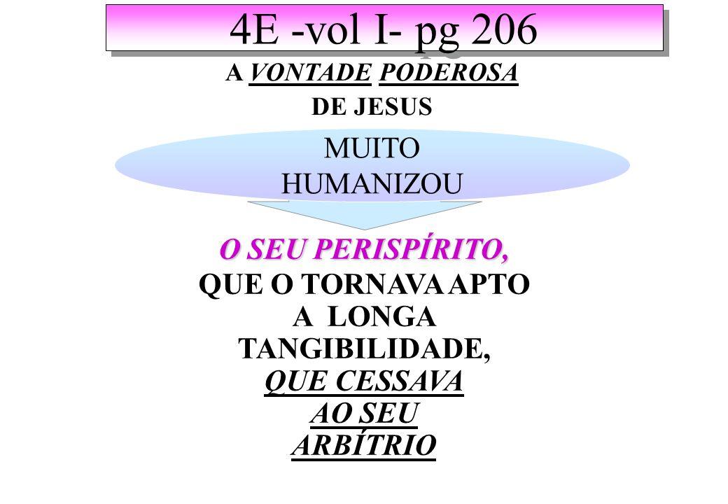 4E -vol I- pg 206 A VONTADE PODEROSA DE JESUS MUITO HUMANIZOU O SEU PERISPÍRITO, QUE O TORNAVA APTO A LONGA TANGIBILIDADE, QUE CESSAVA AO SEU ARBÍTRIO