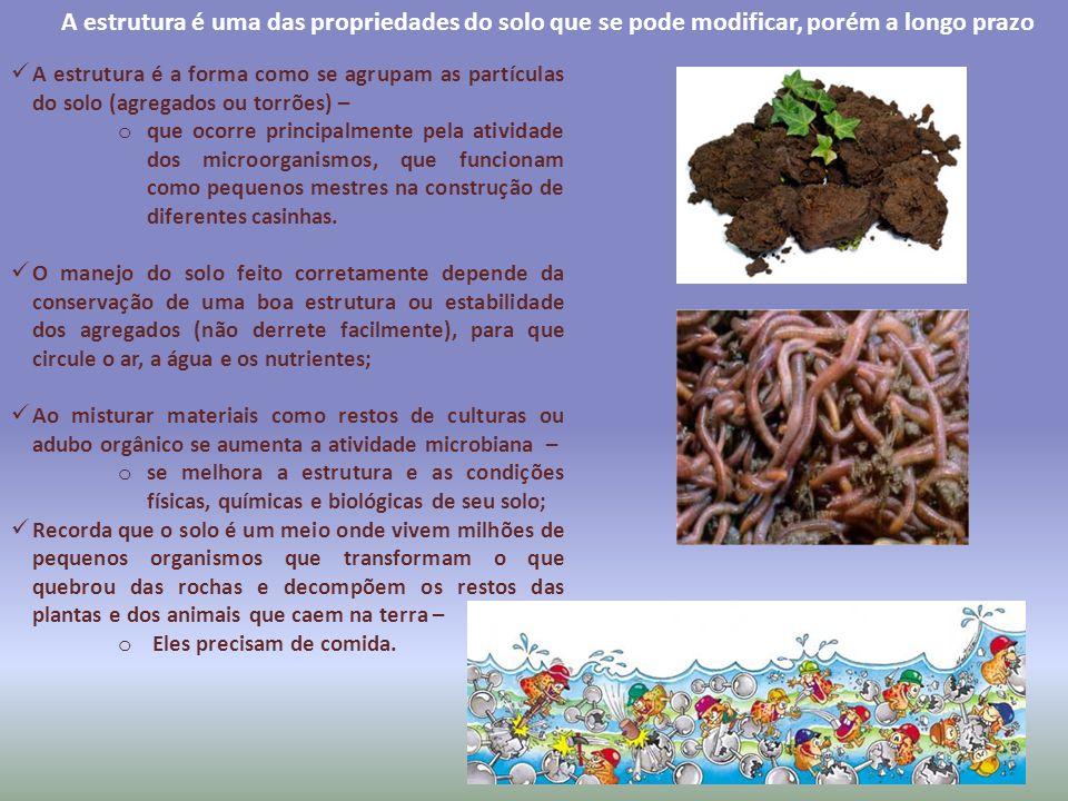 A estrutura é uma das propriedades do solo que se pode modificar, porém a longo prazo A estrutura é a forma como se agrupam as partículas do solo (agr