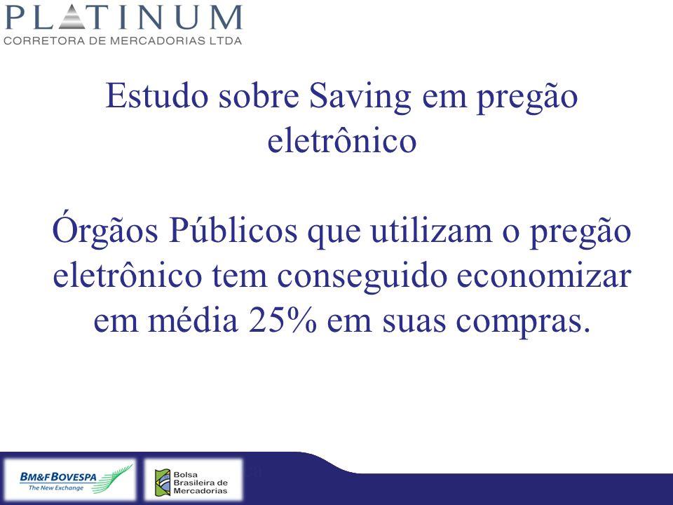 Bradesco – Licitação Eletrônica Fibra – Licitação Eletrônica Estudo sobre Saving em pregão eletrônico Órgãos Públicos que utilizam o pregão eletrônico