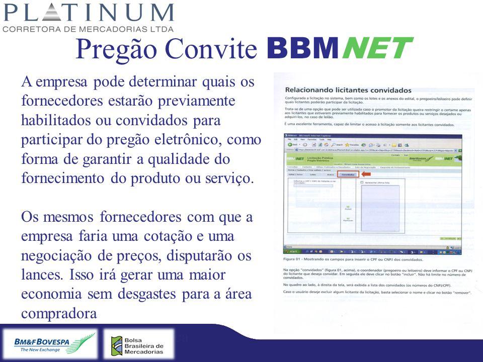 Bradesco – Licitação Eletrônica Fibra – Licitação Eletrônica Pregão Convite BBMNET A empresa pode determinar quais os fornecedores estarão previamente