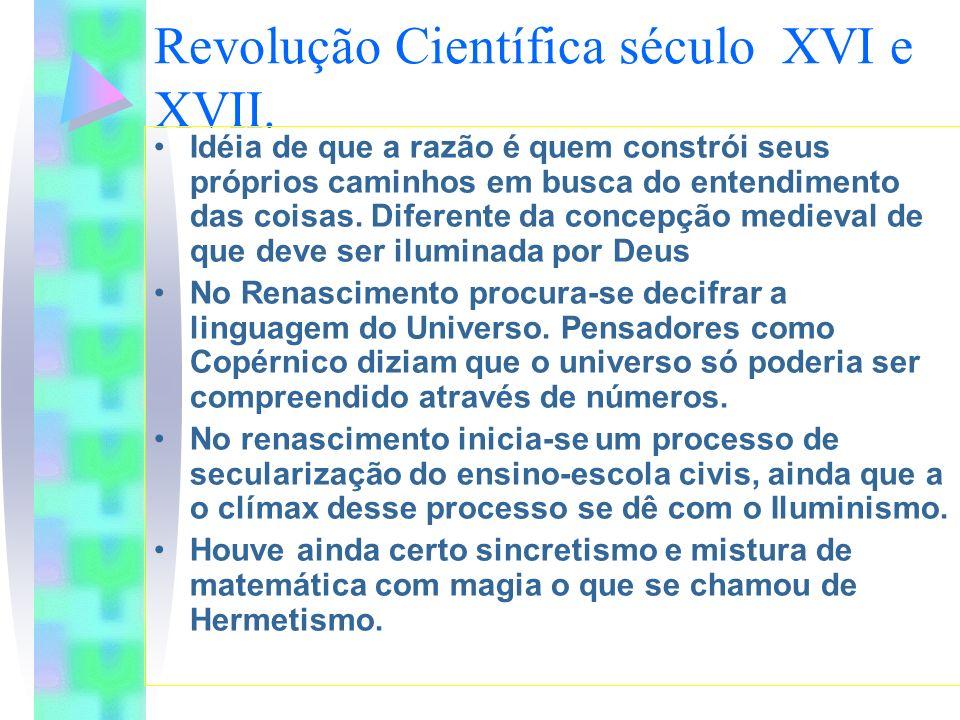 Revolução Científica século XVI e XVII. Idéia de que a razão é quem constrói seus próprios caminhos em busca do entendimento das coisas. Diferente da