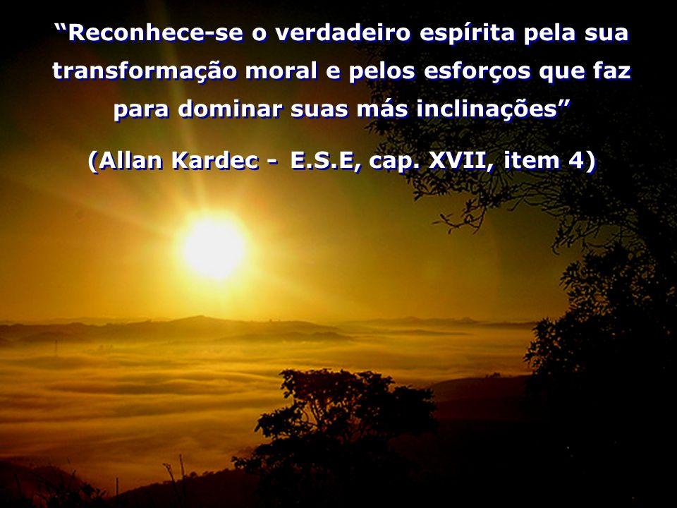 Reconhece-se o verdadeiro espírita pela sua transformação moral e pelos esforços que faz para dominar suas más inclinações (Allan Kardec - E.S.E, cap.