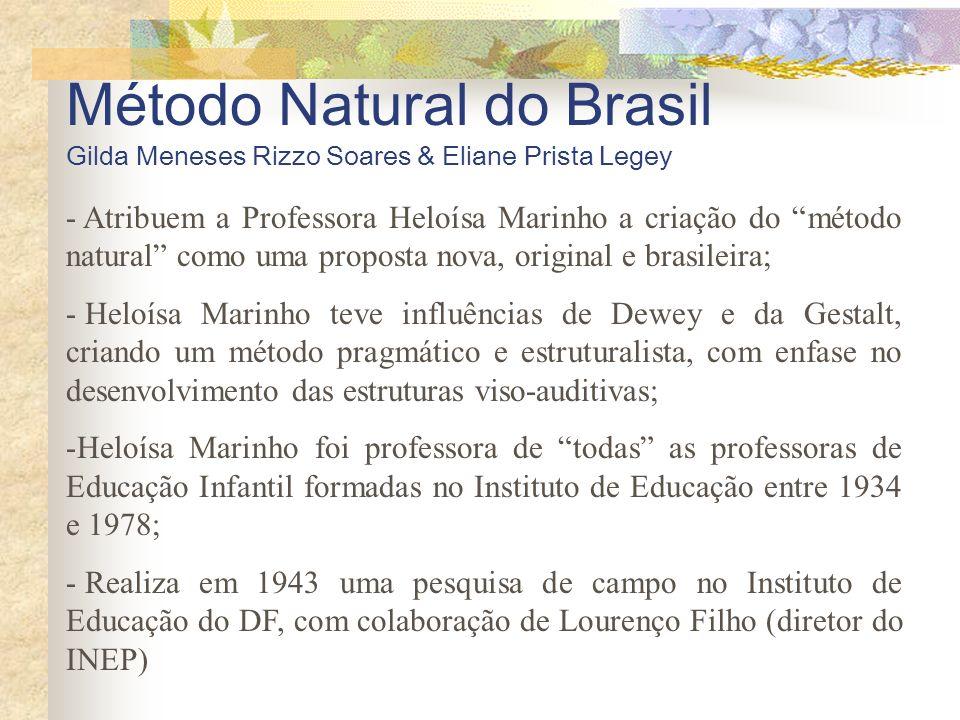 Método Natural do Brasil Gilda Meneses Rizzo Soares & Eliane Prista Legey - Atribuem a Professora Heloísa Marinho a criação do método natural como uma