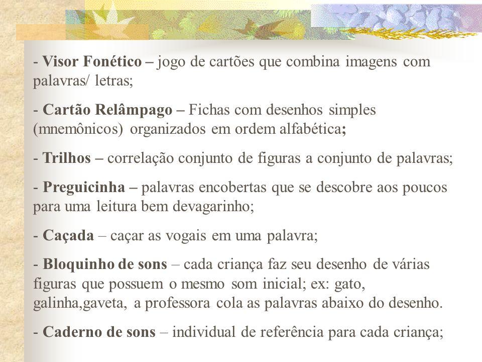 - Visor Fonético – jogo de cartões que combina imagens com palavras/ letras; - Cartão Relâmpago – Fichas com desenhos simples (mnemônicos) organizados