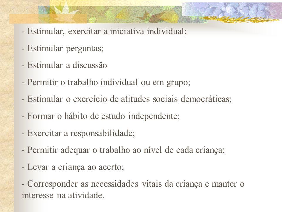 - Estimular, exercitar a iniciativa individual; - Estimular perguntas; - Estimular a discussão - Permitir o trabalho individual ou em grupo; - Estimul
