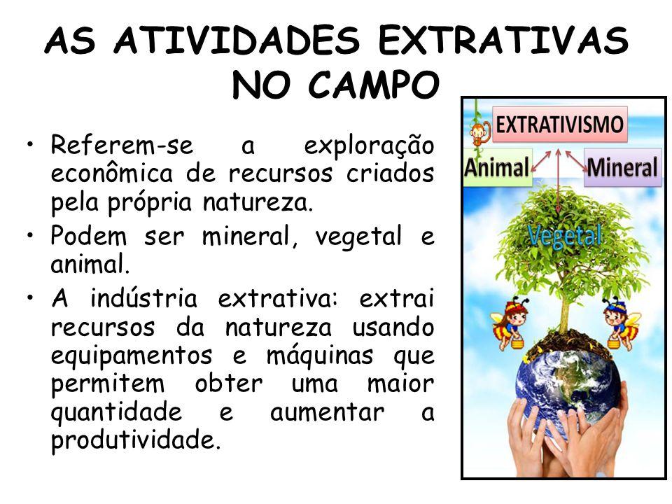 AS ATIVIDADES EXTRATIVAS NO CAMPO Referem-se a exploração econômica de recursos criados pela própria natureza. Podem ser mineral, vegetal e animal. A