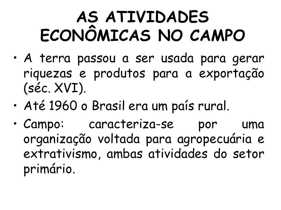 AS ATIVIDADES ECONÔMICAS NO CAMPO A terra passou a ser usada para gerar riquezas e produtos para a exportação (séc. XVI). Até 1960 o Brasil era um paí