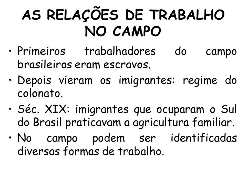 AS RELAÇÕES DE TRABALHO NO CAMPO Primeiros trabalhadores do campo brasileiros eram escravos. Depois vieram os imigrantes: regime do colonato. Séc. XIX