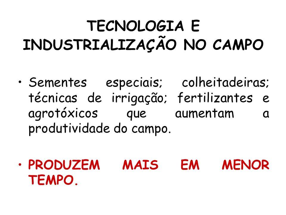 TECNOLOGIA E INDUSTRIALIZAÇÃO NO CAMPO Sementes especiais; colheitadeiras; técnicas de irrigação; fertilizantes e agrotóxicos que aumentam a produtivi