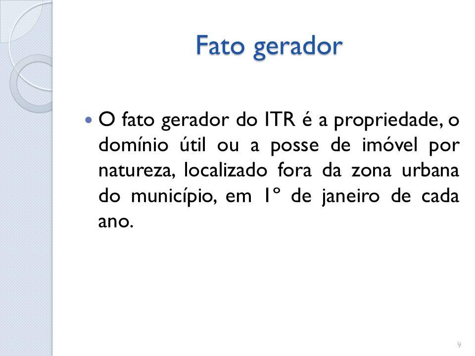 Fato gerador O fato gerador do ITR é a propriedade, o domínio útil ou a posse de imóvel por natureza, localizado fora da zona urbana do município, em