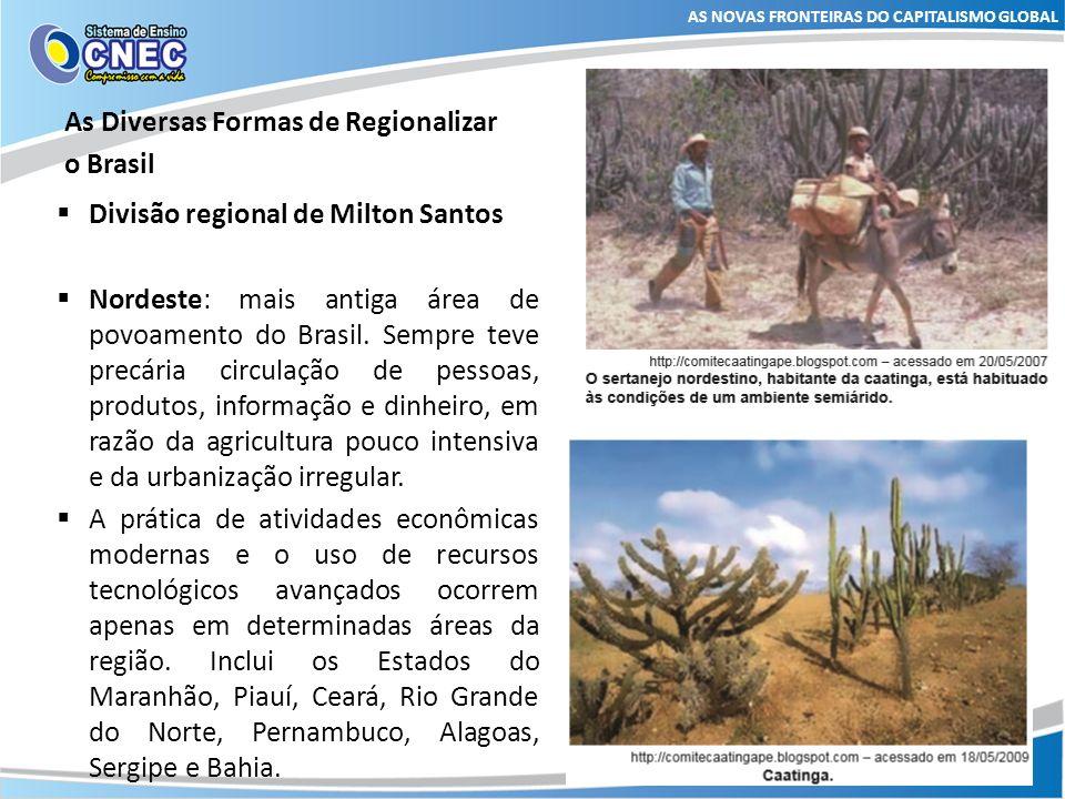 As Diversas Formas de Regionalizar o Brasil AS NOVAS FRONTEIRAS DO CAPITALISMO GLOBAL Divisão regional de Milton Santos Amazônia: região de baixa densidade populacional e com poucos recursos tecnológicos.