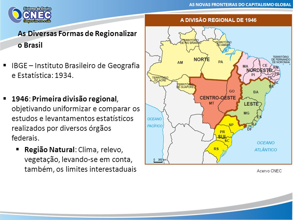As Diversas Formas de Regionalizar o Brasil AS NOVAS FRONTEIRAS DO CAPITALISMO GLOBAL 1969: Nova divisão regional, regiões homogêneas, características físicas, demográficas e econômicas.