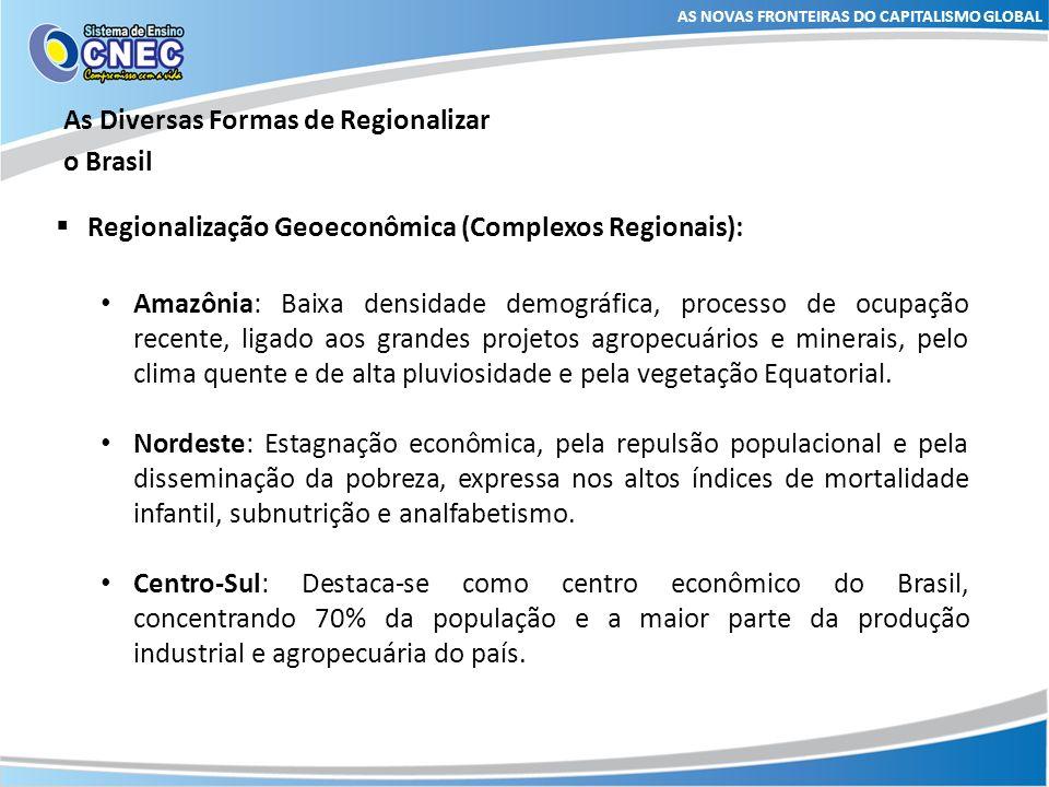 As Diversas Formas de Regionalizar o Brasil AS NOVAS FRONTEIRAS DO CAPITALISMO GLOBAL Divisão regional de Milton Santos Proposta pelo geógrafo Milton Santos e Maria Laura Silveira em 2001, no livro.
