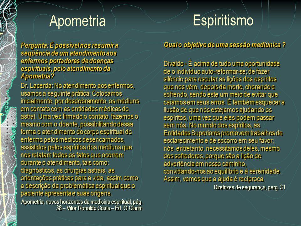 Pergunta: O campo da Apometria se nos afigura vastíssimo e convidativo aos pesquisadores espíritas pela riqueza de fatos serem, ainda, muito explorado