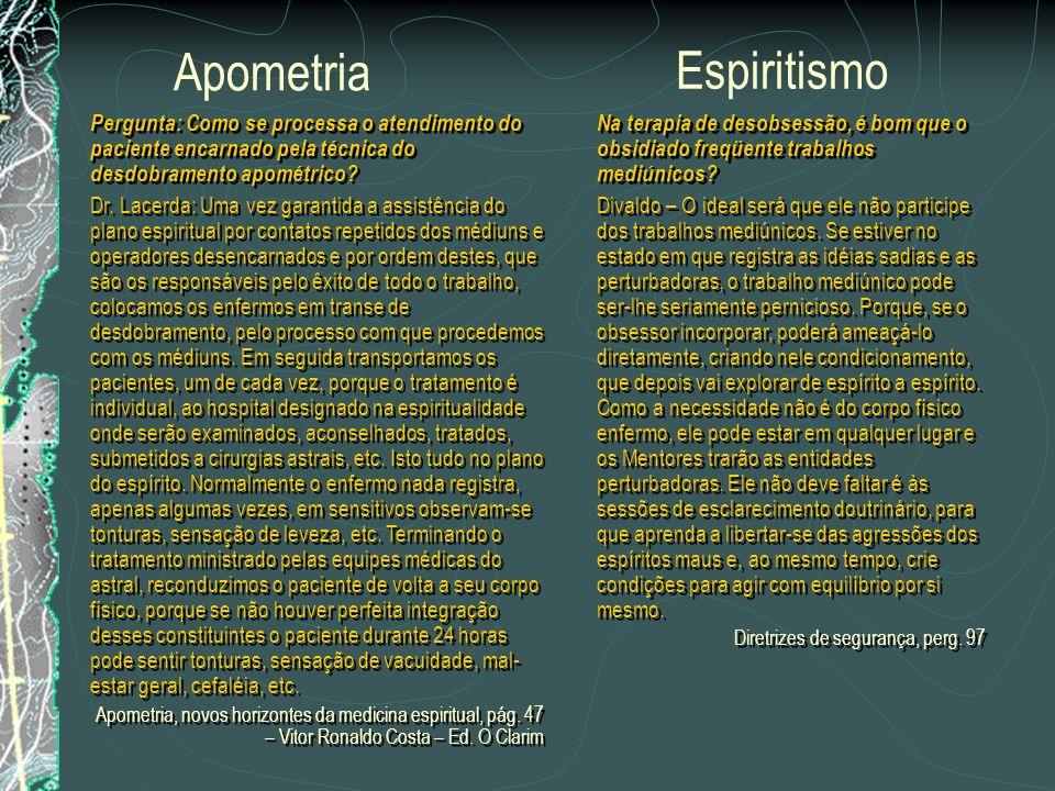 Pergunta: É possível nos resumir a seqüência de um atendimento aos enfermos portadores de doenças espirituais, pelo atendimento da Apometria? Dr. Lace