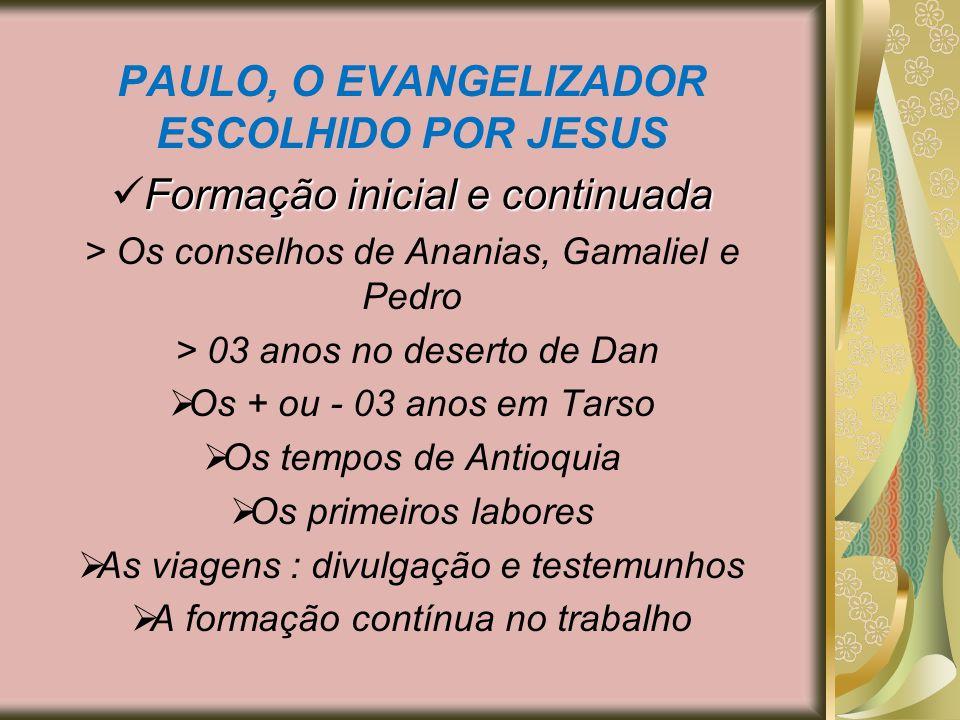 PAULO, O EVANGELIZADOR ESCOLHIDO POR JESUS Formação inicial e continuada > Os conselhos de Ananias, Gamaliel e Pedro > 03 anos no deserto de Dan Os +