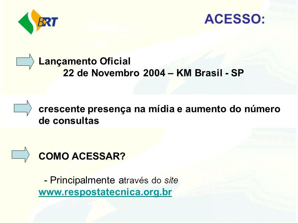 ACESSO: Lançamento Oficial 22 de Novembro 2004 – KM Brasil - SP crescente presença na mídia e aumento do número de consultas COMO ACESSAR? - Principal