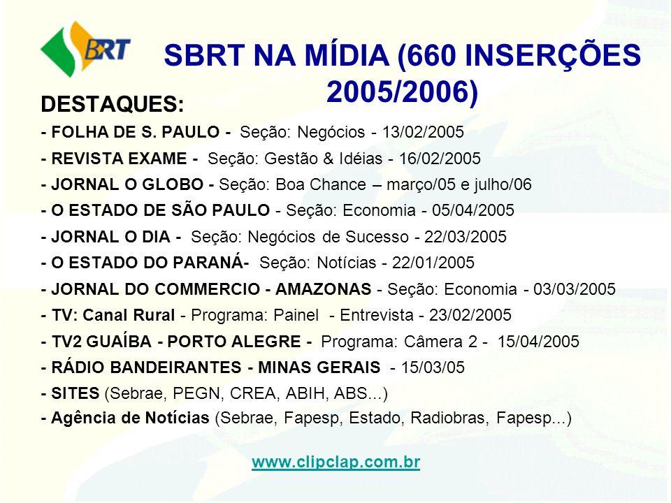 SBRT NA MÍDIA (660 INSERÇÕES 2005/2006) DESTAQUES: - FOLHA DE S. PAULO - Seção: Negócios - 13/02/2005 - REVISTA EXAME - Seção: Gestão & Idéias - 16/02