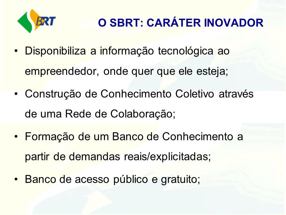 O SBRT: CARÁTER INOVADOR Disponibiliza a informação tecnológica ao empreendedor, onde quer que ele esteja; Construção de Conhecimento Coletivo através