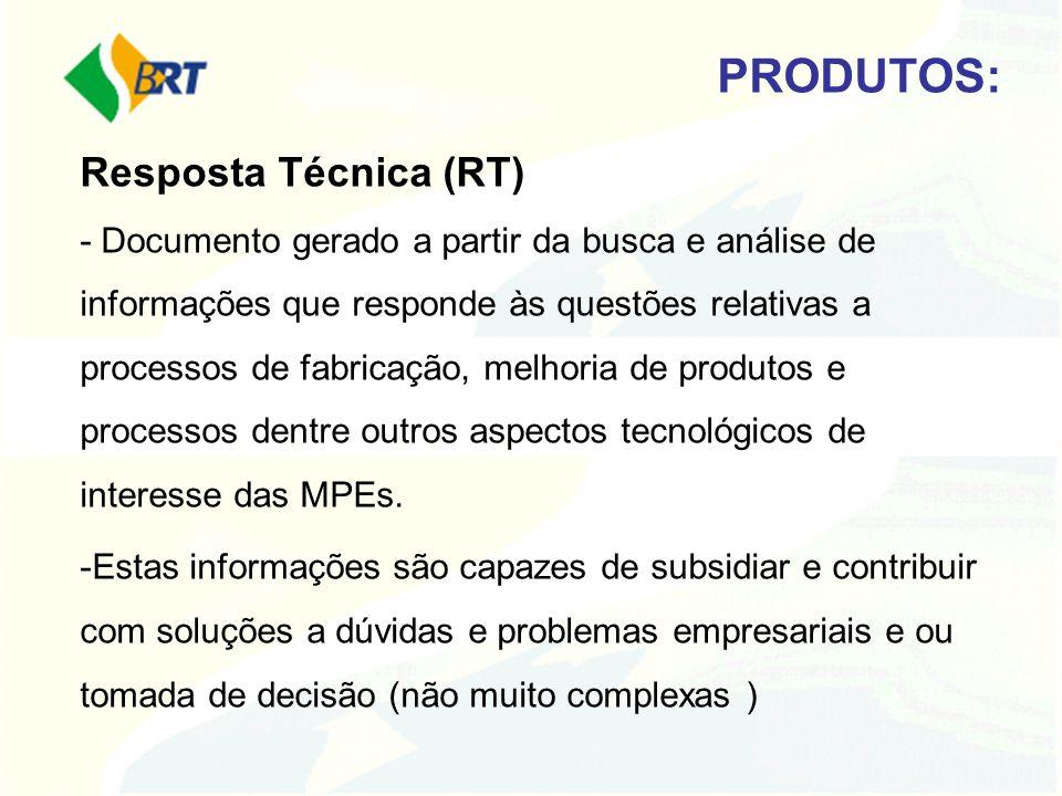 Resposta Técnica (RT) - Documento gerado a partir da busca e análise de informações que responde às questões relativas a processos de fabricação, melh