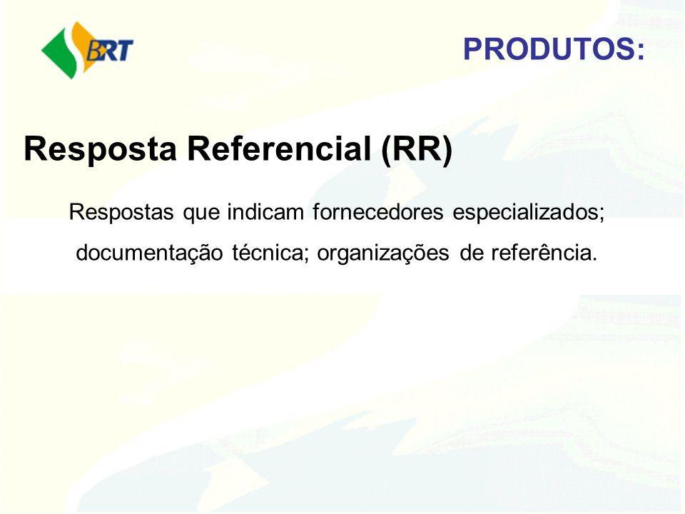 PRODUTOS: Resposta Referencial (RR) Respostas que indicam fornecedores especializados; documentação técnica; organizações de referência.