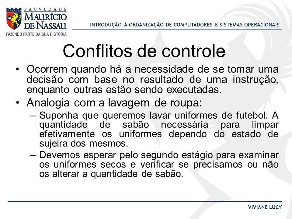 INTRODUÇÃO À ORGANIZAÇÃO DE COMPUTADORES E SISTEMAS OPERACIONAIS VIVIANE LUCY Conflitos de controle Ocorrem quando há a necessidade de se tomar uma de
