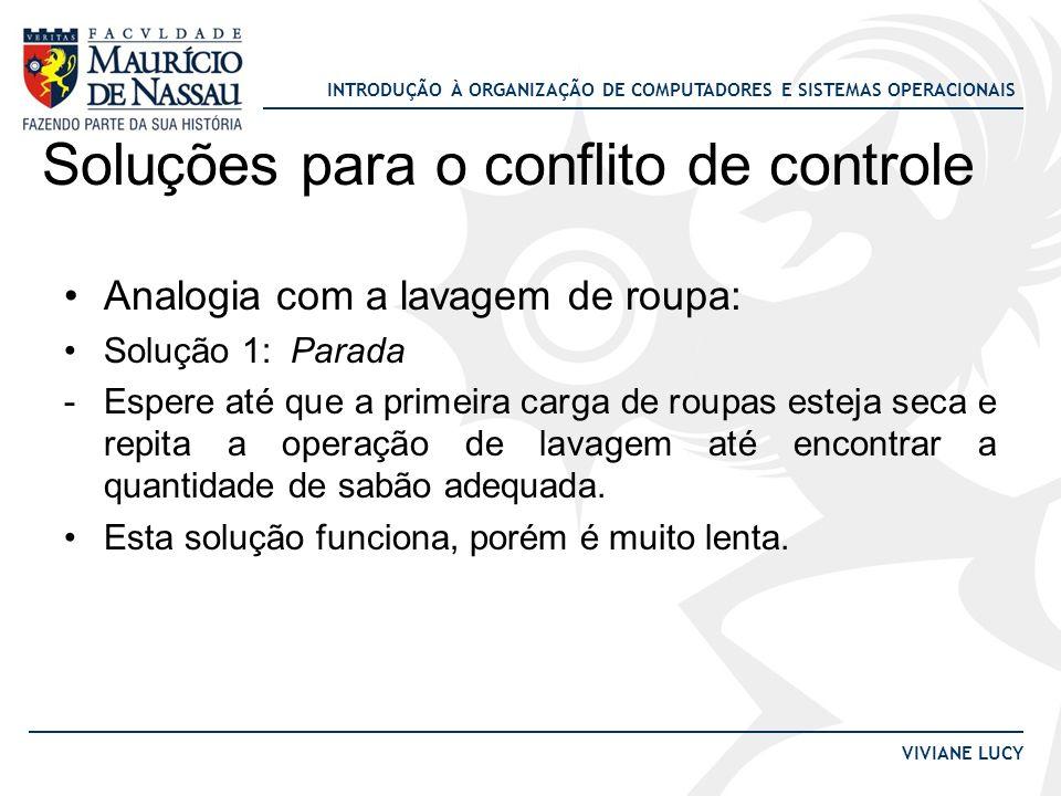 INTRODUÇÃO À ORGANIZAÇÃO DE COMPUTADORES E SISTEMAS OPERACIONAIS VIVIANE LUCY Soluções para o conflito de controle Analogia com a lavagem de roupa: So
