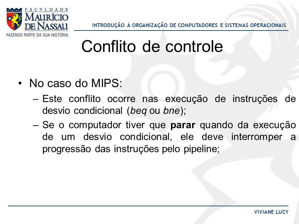 INTRODUÇÃO À ORGANIZAÇÃO DE COMPUTADORES E SISTEMAS OPERACIONAIS VIVIANE LUCY Conflito de controle No caso do MIPS: –Este conflito ocorre nas execução