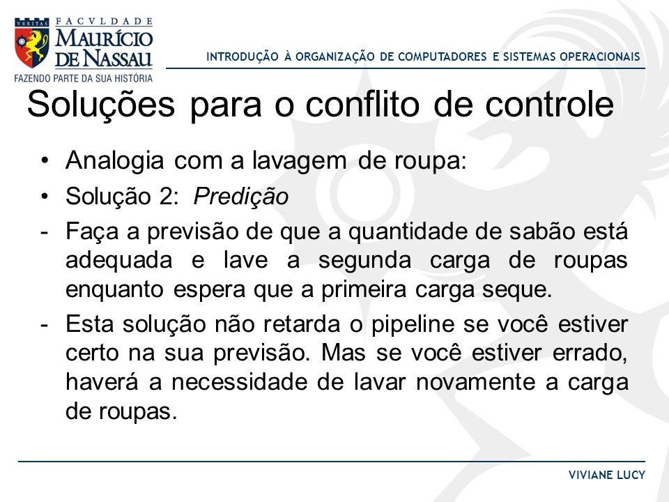 INTRODUÇÃO À ORGANIZAÇÃO DE COMPUTADORES E SISTEMAS OPERACIONAIS VIVIANE LUCY Soluções para o conflito de controle Analogia com a lavagem de roupa : S