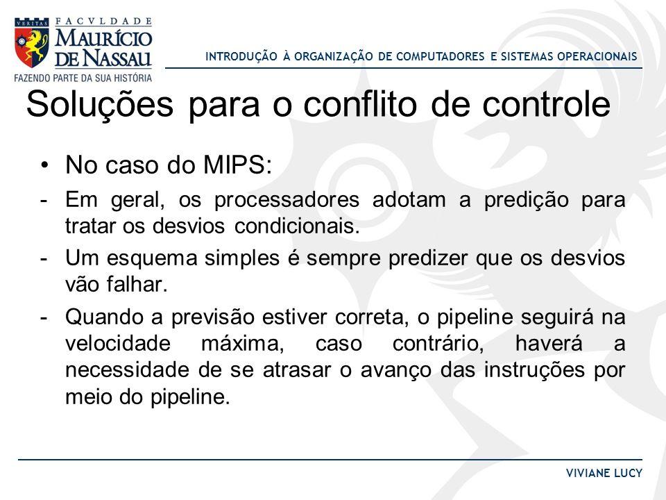 INTRODUÇÃO À ORGANIZAÇÃO DE COMPUTADORES E SISTEMAS OPERACIONAIS VIVIANE LUCY Soluções para o conflito de controle No caso do MIPS: -Em geral, os proc