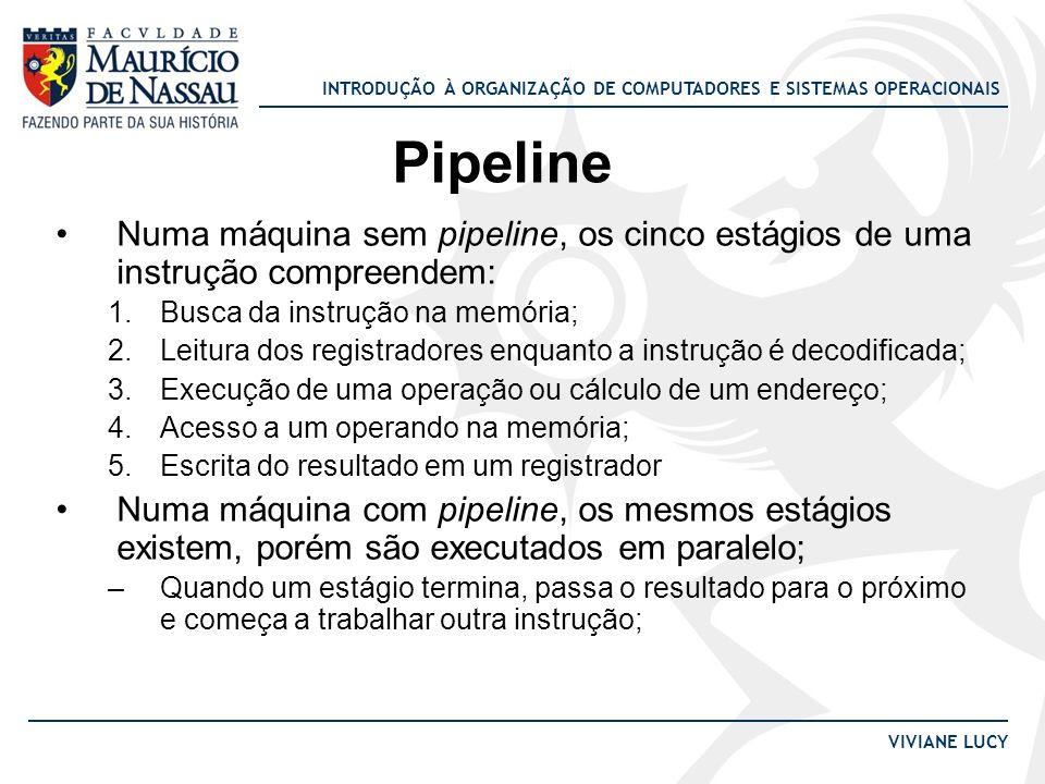 INTRODUÇÃO À ORGANIZAÇÃO DE COMPUTADORES E SISTEMAS OPERACIONAIS VIVIANE LUCY Pipeline Numa máquina sem pipeline, os cinco estágios de uma instrução c