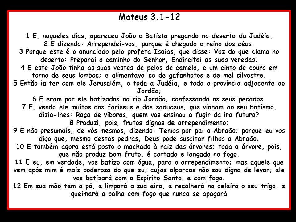 Mateus 3.1-12 1 E, naqueles dias, apareceu João o Batista pregando no deserto da Judéia, 2 E dizendo: Arrependei-vos, porque é chegado o reino dos céu