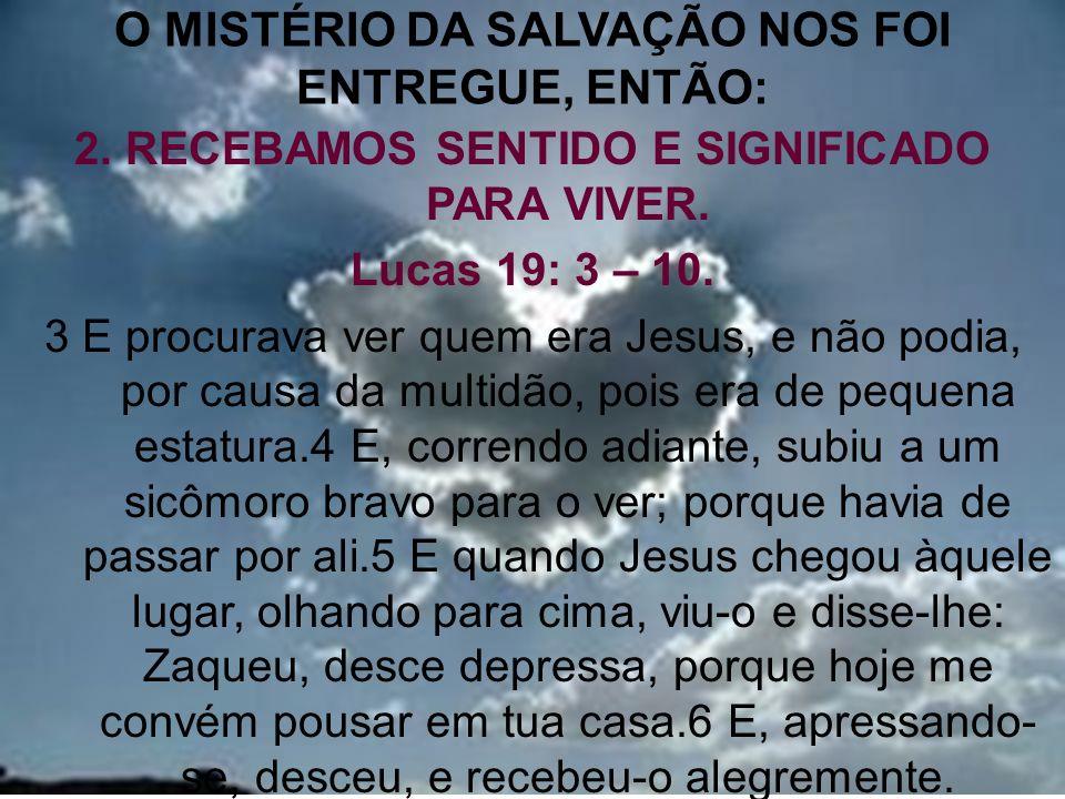 10 O MISTÉRIO DA SALVAÇÃO NOS FOI ENTREGUE, ENTÃO: 2. RECEBAMOS SENTIDO E SIGNIFICADO PARA VIVER. Lucas 19: 3 – 10. 3 E procurava ver quem era Jesus,