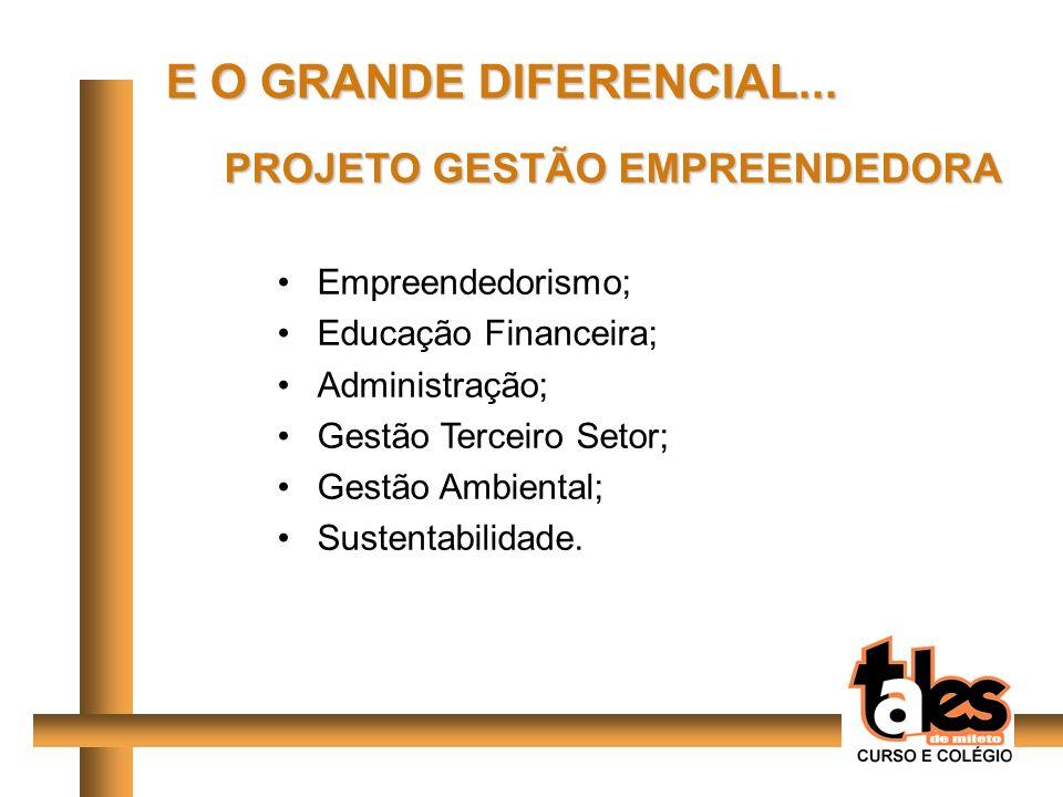 PROJETO GESTÃO EMPREENDEDORA Empreendedorismo; Educação Financeira; Administração; Gestão Terceiro Setor; Gestão Ambiental; Sustentabilidade. E O GRAN