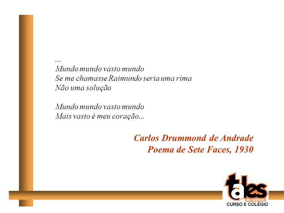 ... Mundo mundo vasto mundo Se me chamasse Raimundo seria uma rima Não uma solução Mundo mundo vasto mundo Mais vasto é meu coração... Carlos Drummond