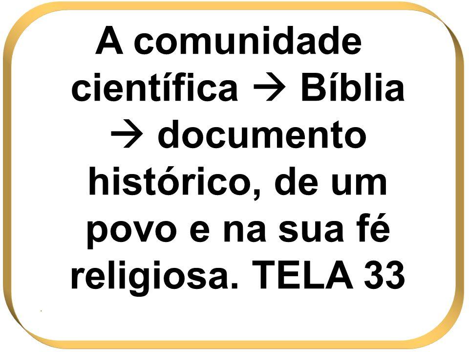 A comunidade científica Bíblia documento histórico, de um povo e na sua fé religiosa. TELA 33.