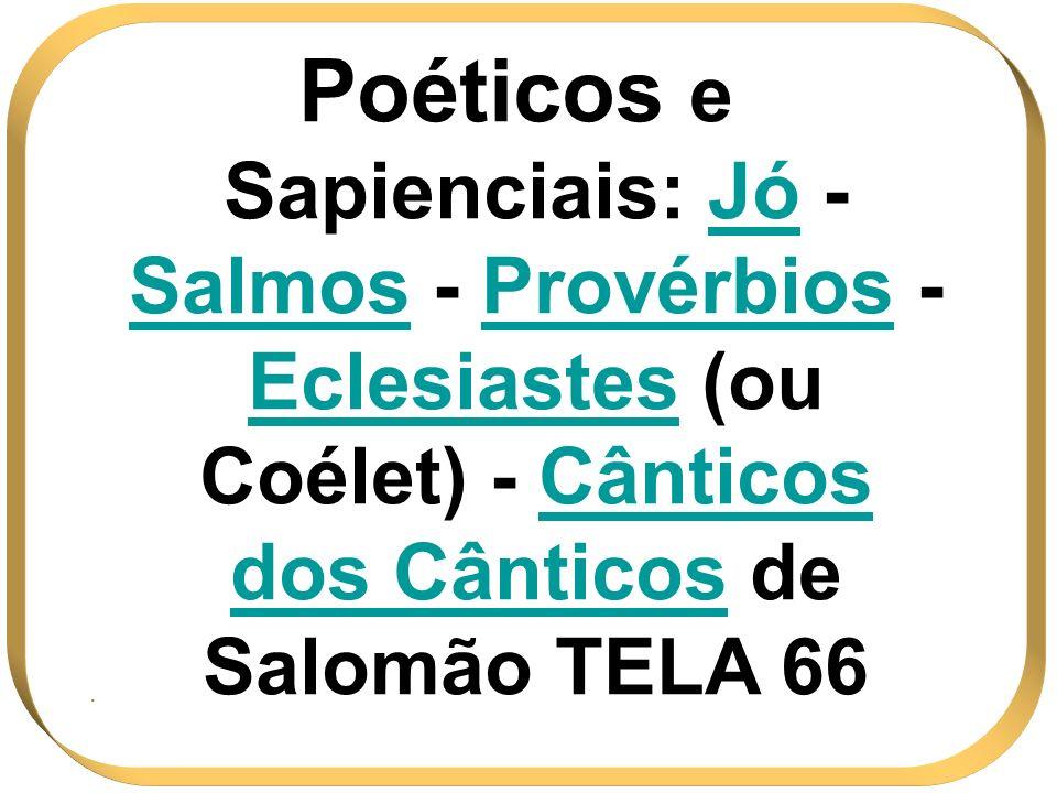 Poéticos e Sapienciais: Jó - Salmos - Provérbios - Eclesiastes (ou Coélet) - Cânticos dos Cânticos de Salomão TELA 66.