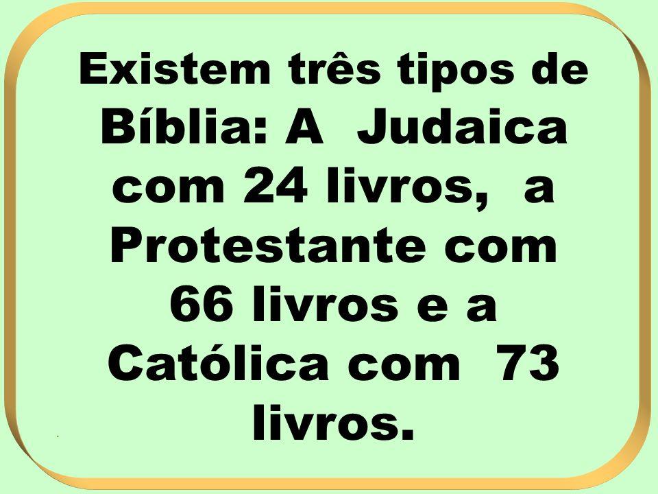 Existem três tipos de Bíblia: A Judaica com 24 livros, a Protestante com 66 livros e a Católica com 73 livros..