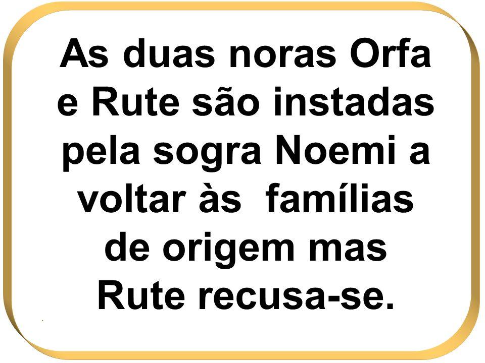 As duas noras Orfa e Rute são instadas pela sogra Noemi a voltar às famílias de origem mas Rute recusa-se..