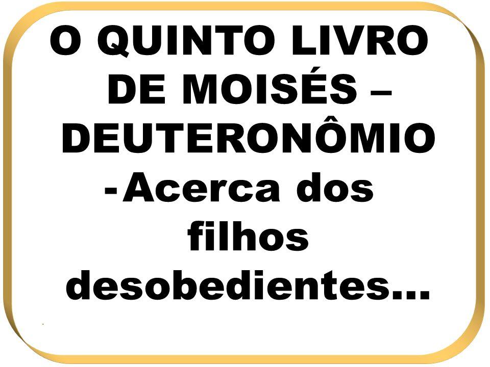 O QUINTO LIVRO DE MOISÉS – DEUTERONÔMIO -Acerca dos filhos desobedientes....