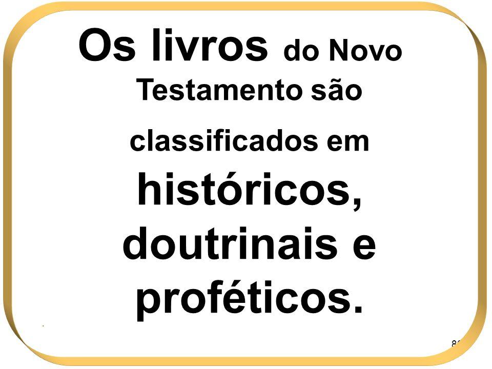 80 Os livros do Novo Testamento são classificados em históricos, doutrinais e proféticos..